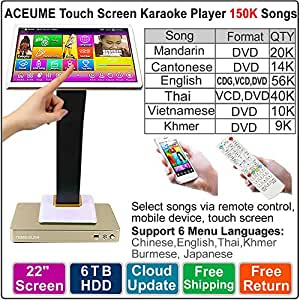 6TB HDD 150K English,Chinese,Vietnamese,Thai,Khmer Songs 22'' Three in one Touch Screen Karaoke Machine,Remote Controller Included,Multilingual Menu And Fast Search