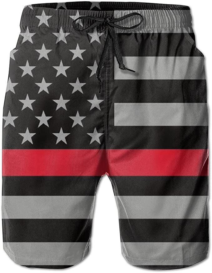 Thin Red Line American Flag Mens Beach Shorts Swim Trunks Outdoor Shorts Sports Shorts