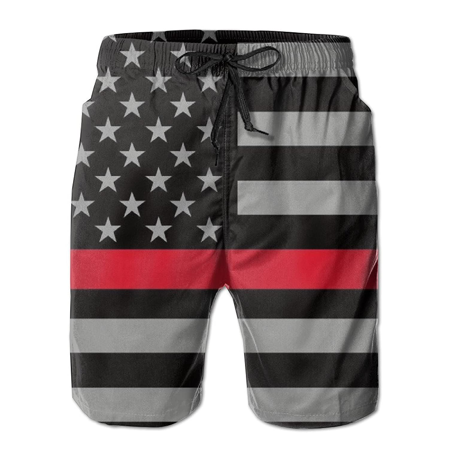 2017 Newest Men's Thin Red Line Flag Quick Dry Beach Board Shorts