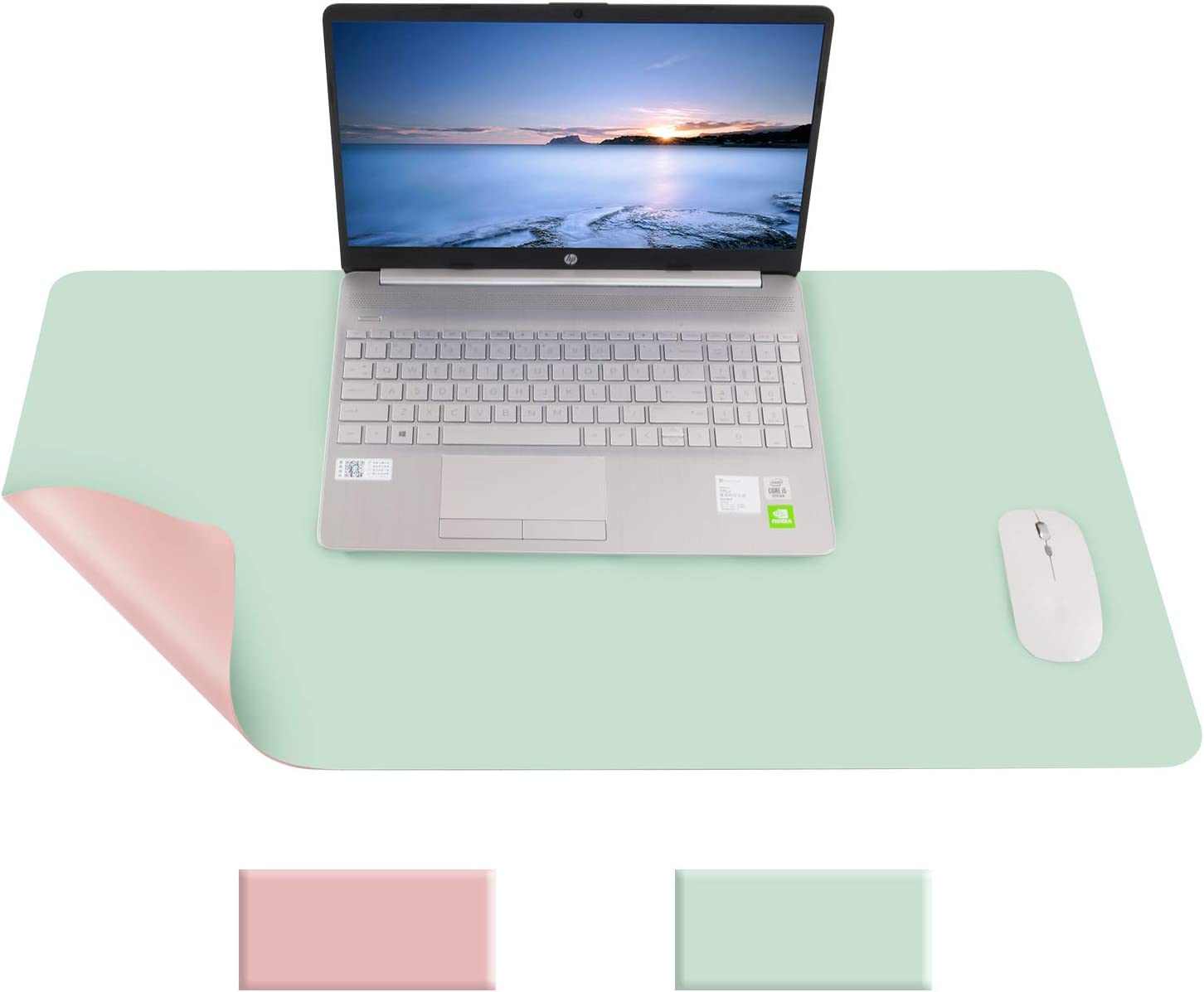 HemannTECH Double Sided PU Leather Desk Pad Protector, Large Smooth Mouse Pad, Coffee Pad, Scratch-Proof, Non Slip, Waterproof, Easy Clean, Ultra Thin Desk Mat (Apple Green+Pink, 23.6