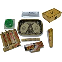 SHINE GRASSLEAF Wooden Rolling Box with RAW Tray Gift Set- Includes Papers/Tips/Rolling Machine/MAT