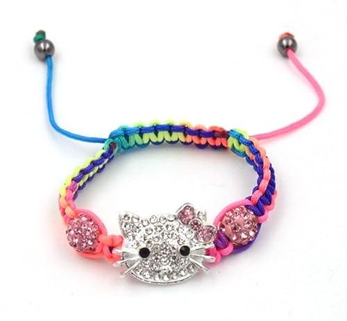 b07b100d8 Amazon.com: Sweet Multi Color Macrame Bead Hello Kitty Charm Bracelet -  Fashion Jewelry for Girls Macrame: Jewelry
