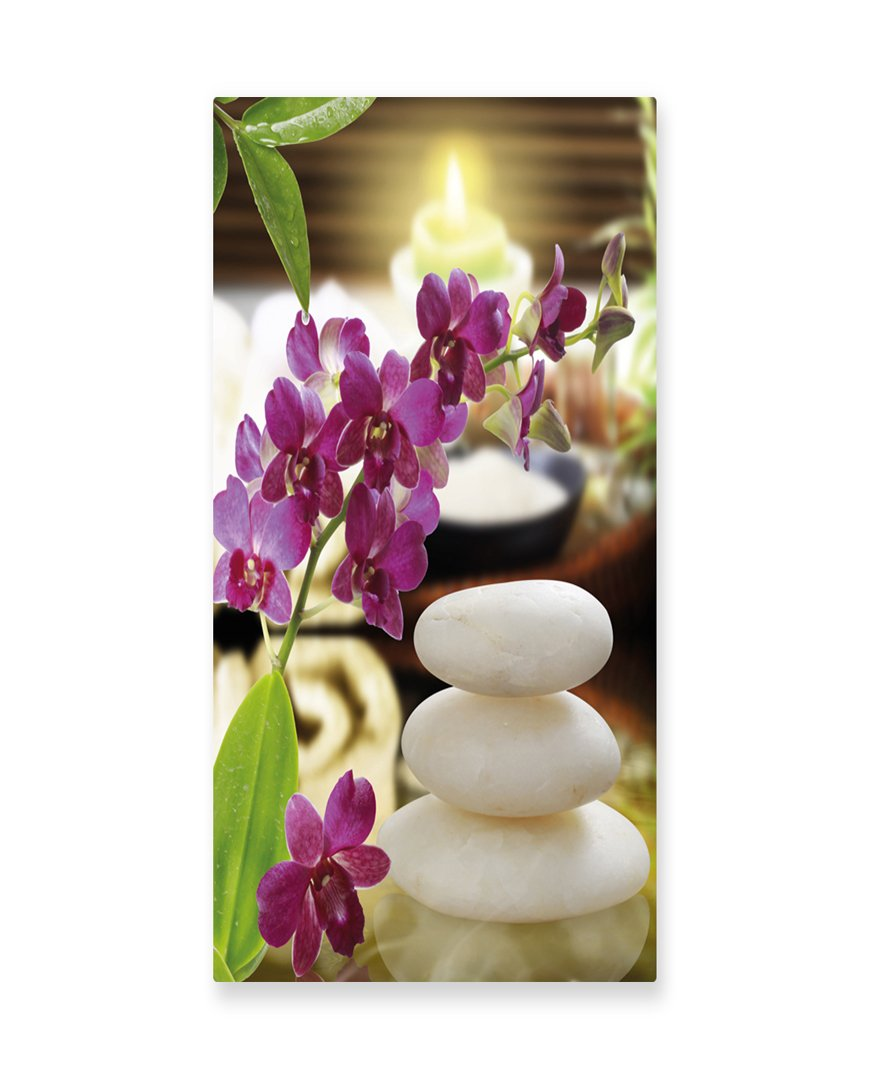 Lunarable Spa Wall Art, Refreshing Spa Day with Stones Herbal Salts and The Exotic Flowers Print, Gloss Aluminium Modern Metal Artwork for Wall Decor, 11.6 W X 23.5 L Inches, Purple White and Green