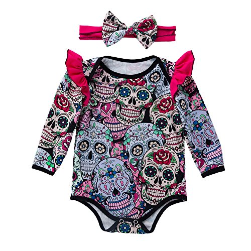 iYBUIA Fashion Cotton Newborn Baby Girls Long Sleeve Halloween Cartoon Skull Romper -
