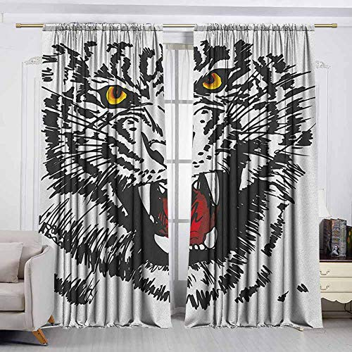 (VIVIDX Doorway Curtain,Tiger,Angry Feline with Black and White Pattern Realistic Eyes Hunting Surviving,Thermal Insulated Light Blocking Drapes for Bedroom,W72x72L Inches Black Red Yellow )