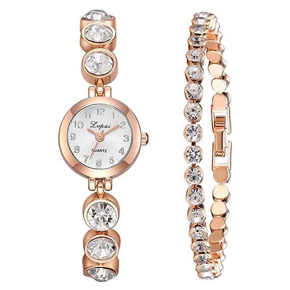 POJIETT Conjunto Relojes Mujer de Moda con Caja Reloj Pulsera Brazalete Conjunto Reloj Marea Niña Reloj Analogico de Cuarzo Ragalos Joyas para Mujer Reloj ...