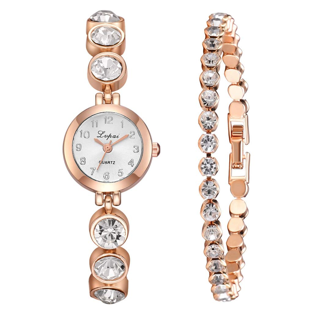 Hot Sale! Womens Watches Luxury Minimalist Ultra-Thin Quartz Analog Diamond Strip Wrist Watch 3pcs Set Gibobby