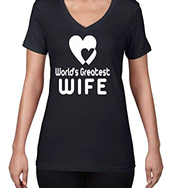 AW Fashions Worlds Greatest Wife - Best Wife Womens V-Neck Shirt (Small,
