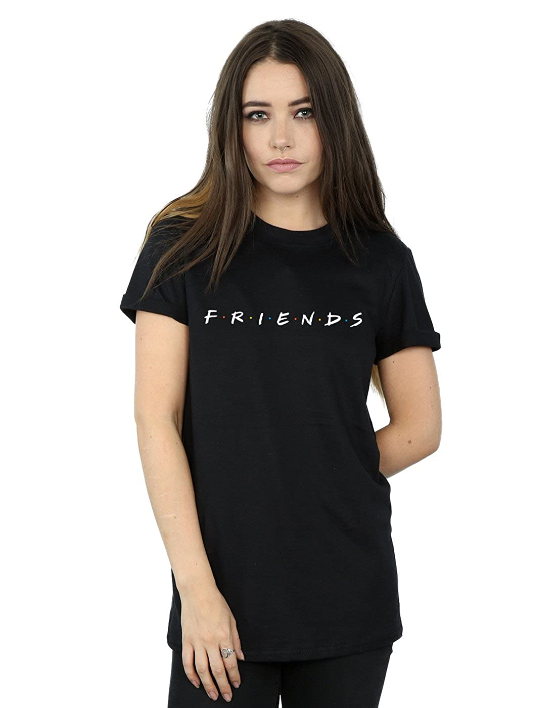 Friends Donna Text Logo Boyfriend T-Shirt Fit Absolute Cult