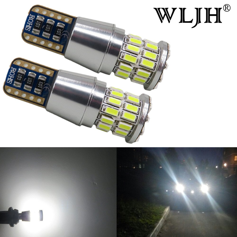 WLJH 2 Pack Extremely Bright 5W 3014 Chipsets LED Bulbs T10 W5W Canbus Error Free Bulb for Parking Back Up Sidemarker License Plate light, Plug ang Play