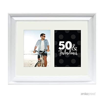 Amazon.com - Andaz Press Double White 5x7-inch Photo Frame, 50 and ...