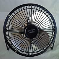 CHECKYS DEALS BLACK 6 INCH METAL BLADE AND CAGE DESK TOP FAN USB POWERED