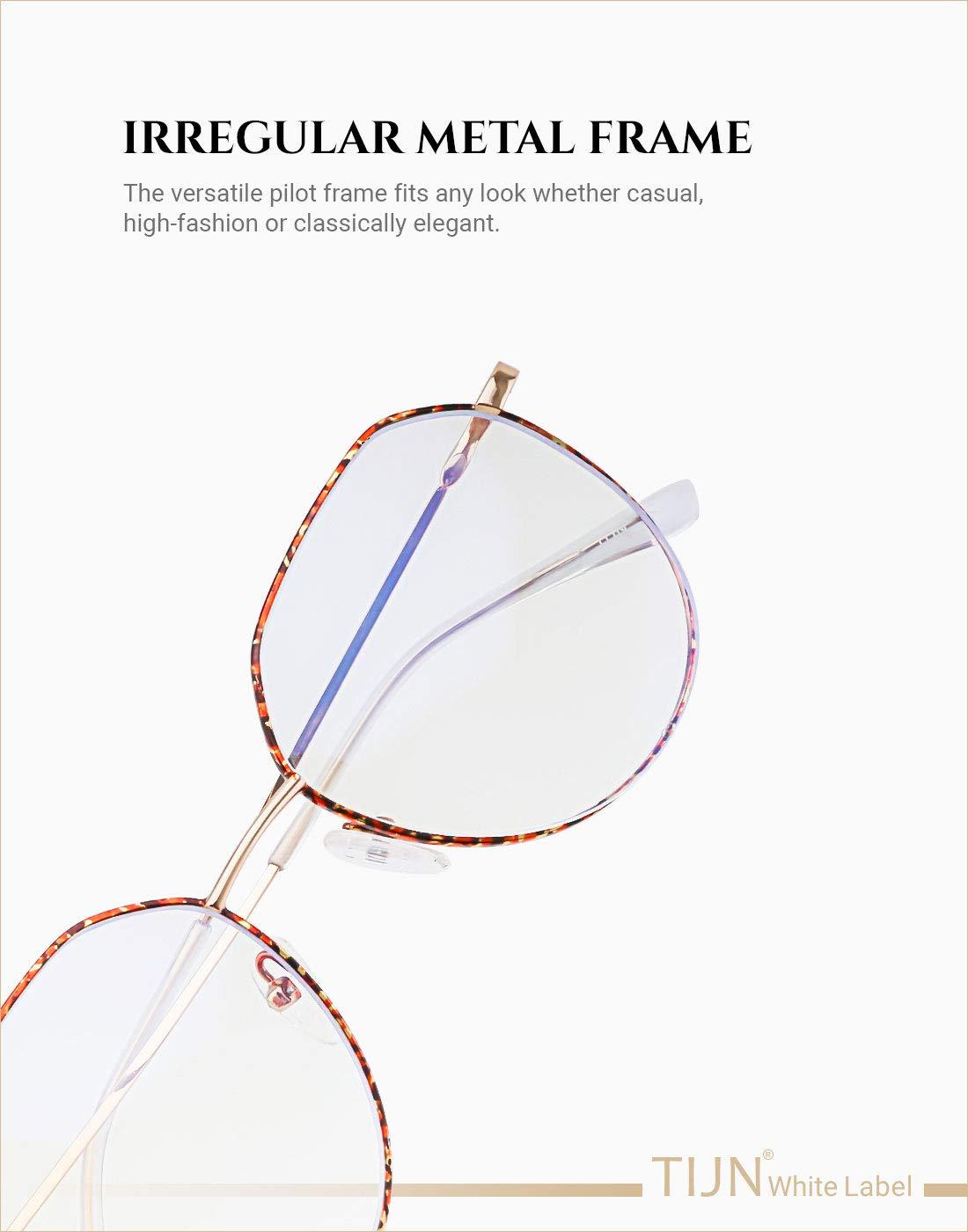 TIJN Damen Herren Metall Computer Brillen Anti Blaulichtfilter Brille Hoher Schutz Gaming Brillen f/ür PC Handy und Fernseher Schildkr/öte