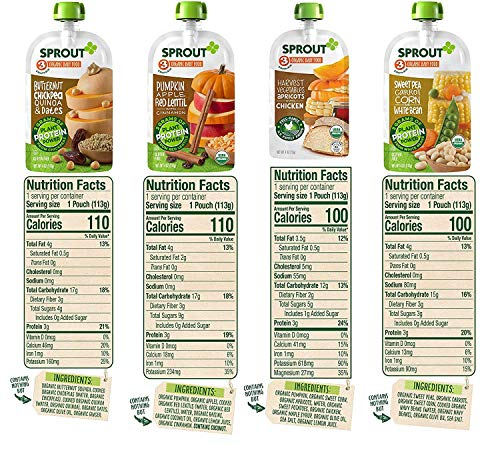 61zb7wbujZL - Sprout Organic Baby Food Pouches Stage 3, Organically Sourced Meat And Plant Protein Variety Sampler 8 Flavor, 4 Ounce Pouches (Pack Of 12)