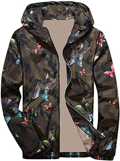 Lightweight Down Jacket Men.Mens Autumn Winter Camouflage Print Pullover Long Sleeve Hooded Tops Blouse