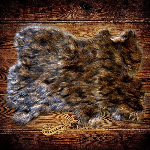Lions Mane Shag Rug Luxury Fur Bear Sheepskin Pelt Rug Faux Flokati Pelt Suede Lined (5'x7')