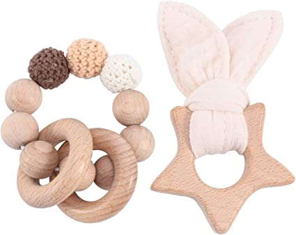 2pcs Wooden Teethers Baby Teething Toy For Montessori Bracelets DIY Craft
