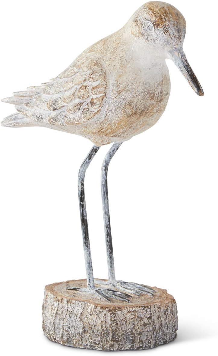 K&K Interiors 15431B-1 10 Inch Sea Bird with Metal Legs on Base, White