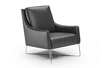 Natuzzi Editions Vanessa Gray Leather Armchair