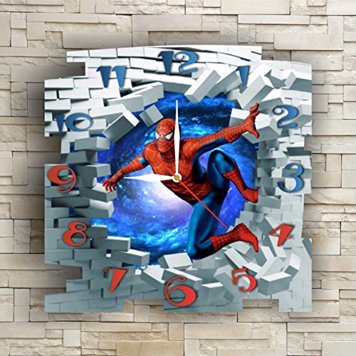 SpiderMan 11.8'' Original Handmade Wall Clock - Get unique décor for home or office – Best gift ideas for kids, friends, parents and your soul mates
