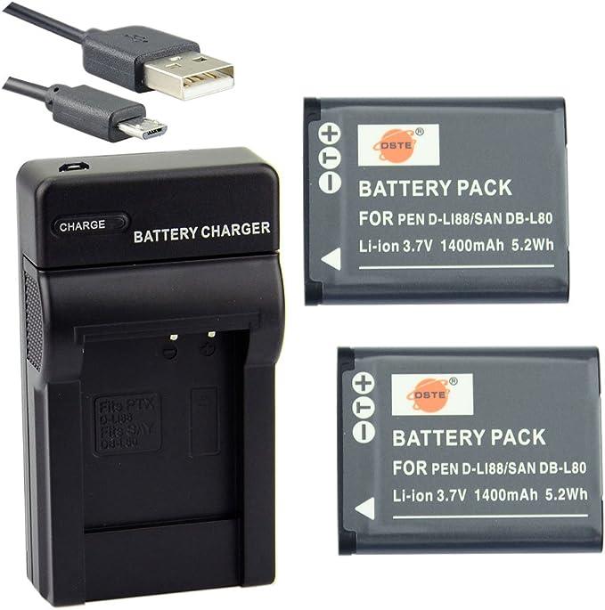 Dste D Li88 Li Ionen Batterie 2 Pack Und Micro Usb Ladegerät Anzug Kompatibel Mit Pentax