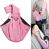 i'Pet Hands-free Reversible Small Dog Cat Sling Carrier Bag Travel Tote Soft Comfortable Puppy Kitty Rabbit Double-sided Pouch Shoulder Carry Tote Handbag (Pink with Stars)