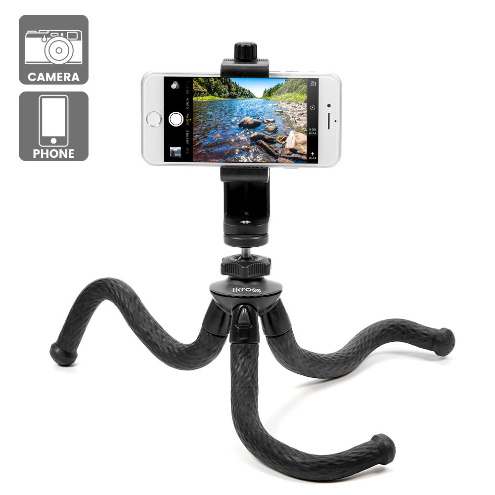 Travel Tripod, iKross Freestyle Phone Tripod Flexible and Portable Mini Tripod Stand Mount with Rotatable Universal Clip/Adapters for Smartphone, iPhone, Digital Camera, 360 Camera
