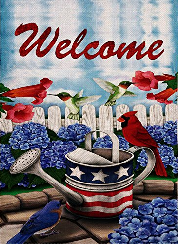 Dyrenson Home Decorative Outdoor 4th of July Patriotic Orioles Cardinal Garden Flag Double Sided Welcome Quote, Red Bird House Yard Flag Geraniums Decorations, USA Flower Seasonal Outdoor Flag 12 x 18 -