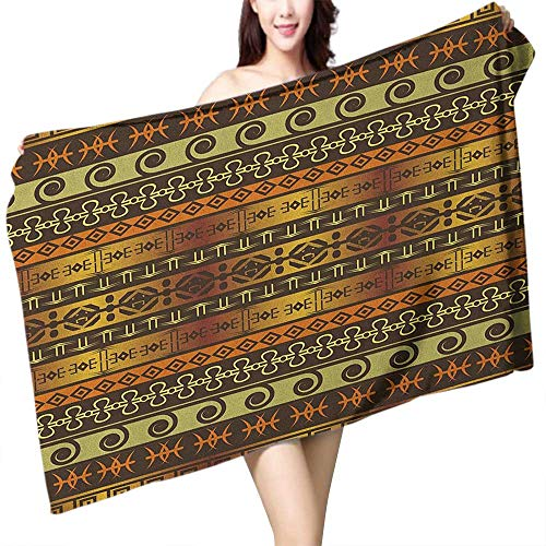 Perfectble Custom Bath Towel Zambia Ethnic Ornamental Abstract Heritage Traditional Ceremony Ritual Image W12 xL35 Suitable for bathrooms, Beaches, Parties