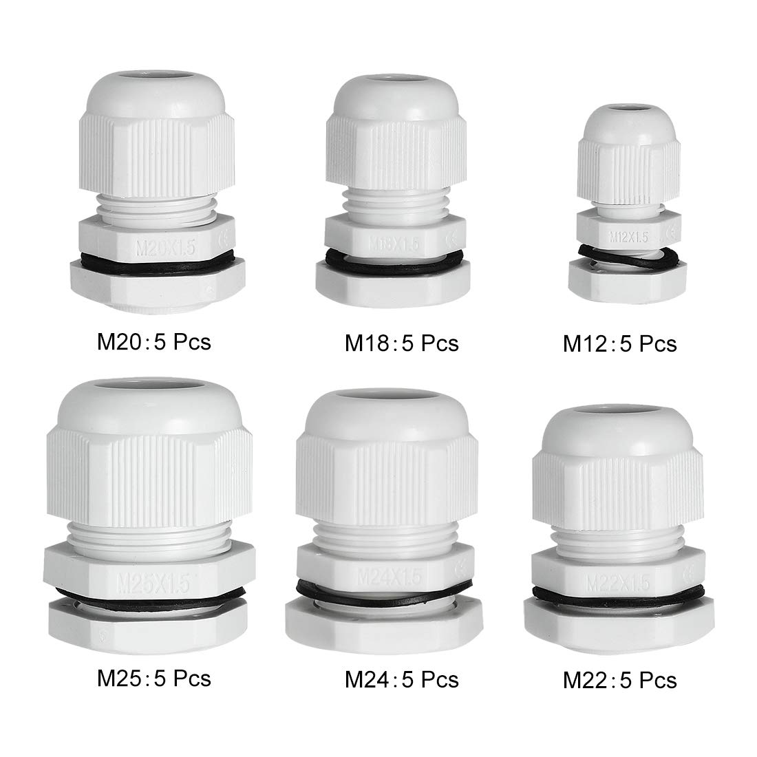 Pack of 30 uxcell M12 M18 M20 M22 M24 M25 Waterproof IP68 Nylon Cable Gland Joint Adjustable Locknut for 3mm-18mm Dia Cable Wire