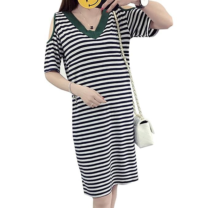 BOZEVON Vestido Lactancia de Mujer Embarazo - Moda Clásico Cuello en V Raya Premamá Blusa Maternidad Verano Camiseta Vestidos: Amazon.es: Ropa y accesorios