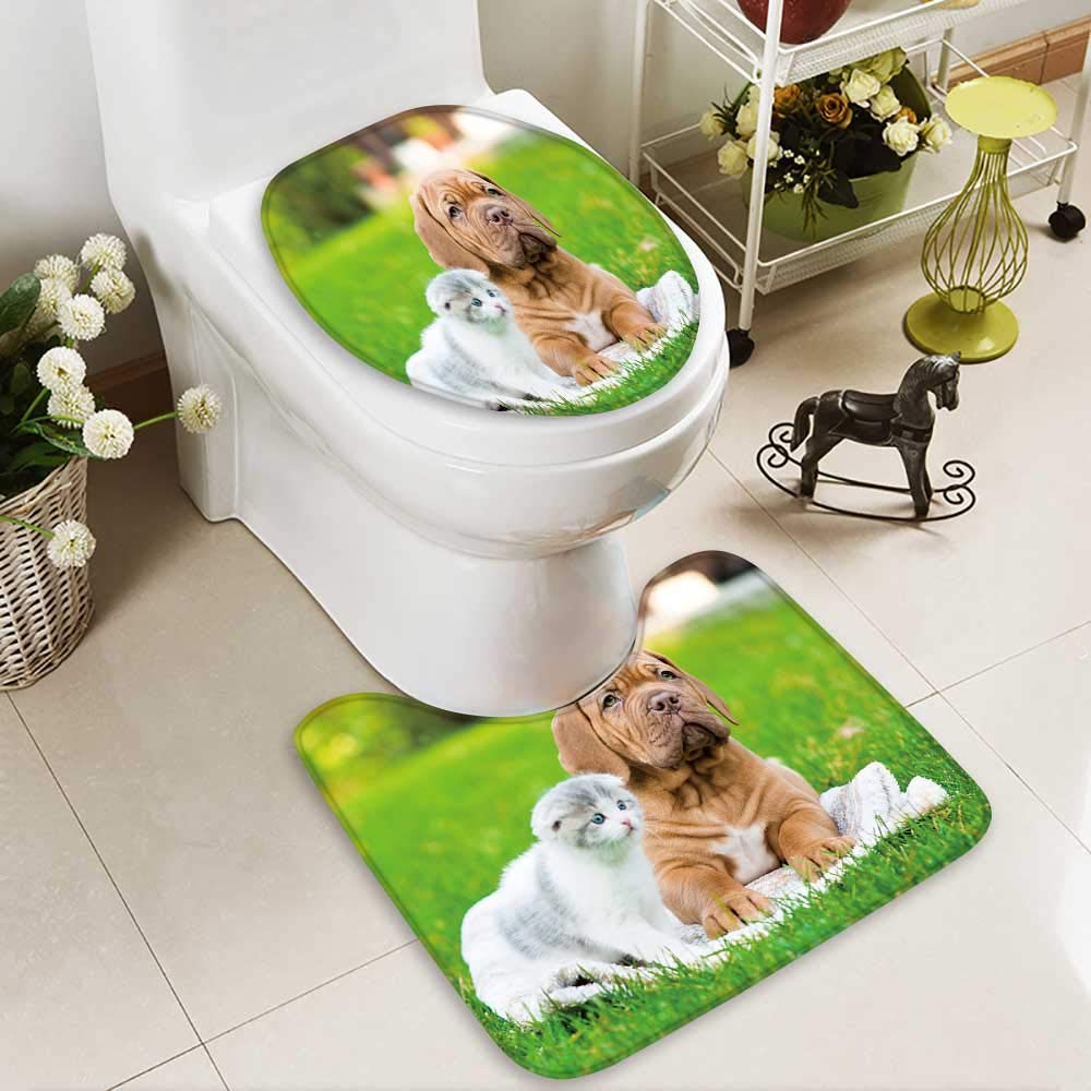 color5 L20\ color5 L20\ Aolankaili Large Contour Mat Bordeaux Puppy Dog Lying Small Kitten on Green Grass Non-Slip Microfiber Bathroom mat Anti Skid