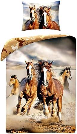 Copripiumino Singolo Con Cavalli.Cavallo Cavalli Marrone Horse Riding Set Letto Copripiumino