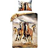 Horse Riding - Juego de cama, edredón con diseño de caballo marrón, para cama