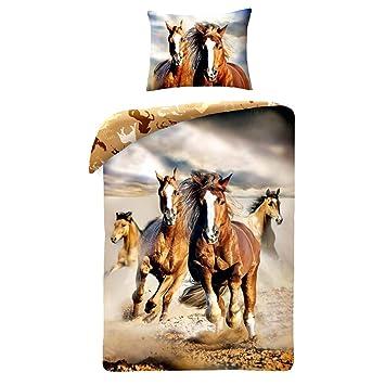 Pferd Pferde Braun Horse Riding Set Bett Bettbezug 140 X 200