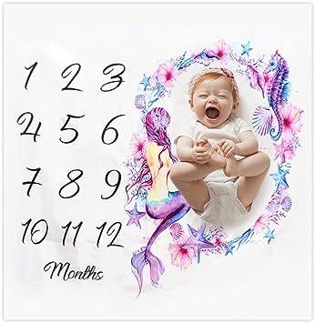 100 x 100 cm Mermaid envoltorio de ropa de cama crecimiento mensual manta de hito de beb/é reci/én nacido Manta para beb/é con hito mensual fotograf/ía de tiro fondo de fotograf/ía de utiler/ía