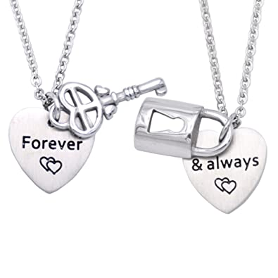 203b555393c67 Melix Couples Necklace Set for Boyfriend and Girlfriend with Lock and Key  Charms - Couples Jewelry - Best Friend Necklaces