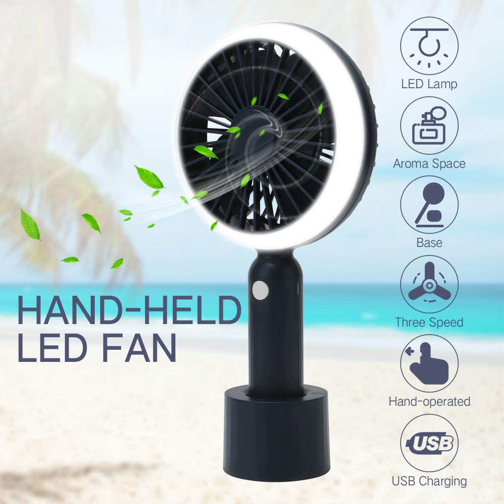 FrideMok USB Portable Mini Handheld Fan,Silent Aromatherapy Personal Fans with LED Night Lamp,2200mah Battery Power Bank,3 Speeds Adjustable,Mosquito Repellent fan Dark Blue