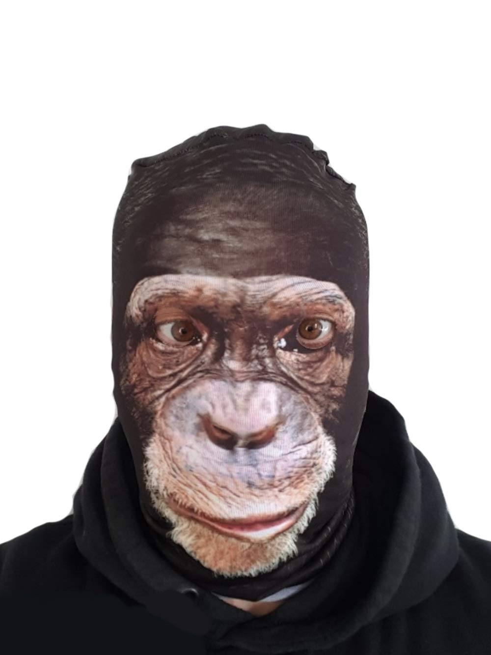 Stinkyface Chimp Full Head Mask Realistic Animal Printed Lycra Funny