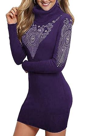 5ae3843f5098f Yayun Yayu Womens Turtleneck Hot Drilling Long Sleeve Bodycon Party Club  Dress Purple XS
