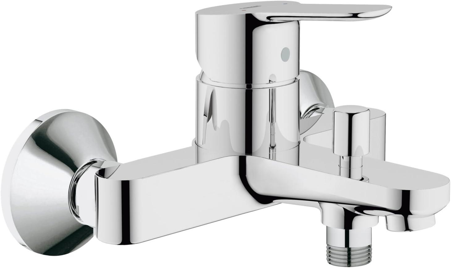 Grohe BauEdge - Grifo para ducha y baño con sistema de montaje en pared e inversor automático. Incluye sistema de ahorro de agua y limitador de caudal ajustable (Ref. 23334000)