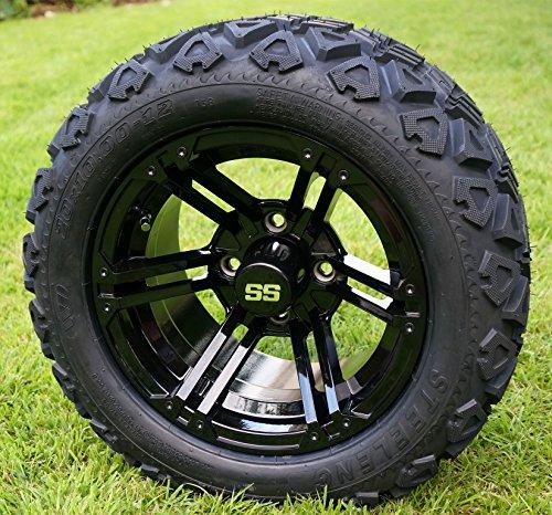 12'' TERMINATOR Gloss Black Golf Cart Wheels and 20x10-12 DOT All Terrain Golf Cart Tires - Set of 4 - NO LIFT REQUIRED (read description) by Golf Cart Tire Supply (Image #2)