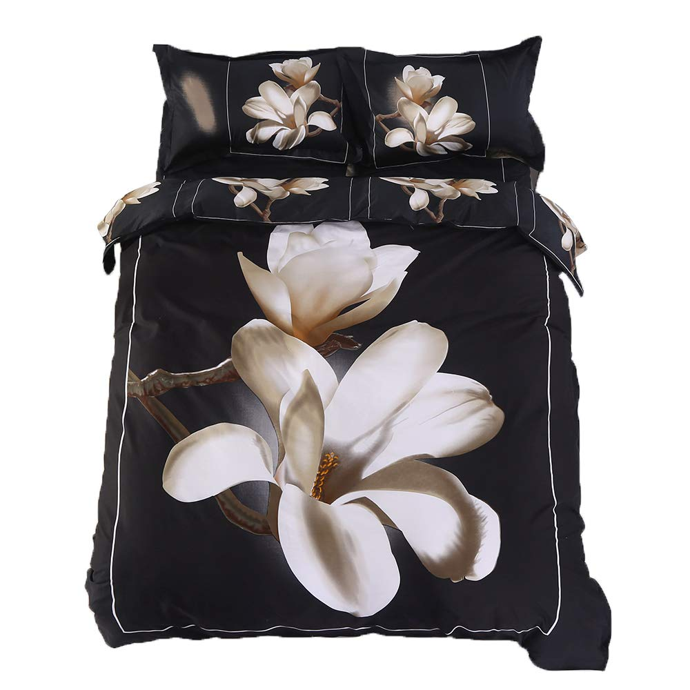 Alicemall 3D Floral Bedding Full Size White Big Blooming Magnolia Flower Black 4-Piece 3D Duvet Cover Set, Cotton Black Bed Set including Duvet Cover, Flat Sheet, 2 Pillow Cases (Full)