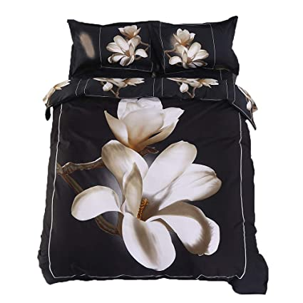 Alicemall 3D Floral Bedding King Size White Big Blooming Magnolia Flower  Black 4 Piece 3D