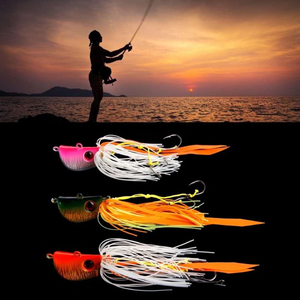 quanjucheer Glow in Dark Luminous metal Head Jig da pesca esca Squid ganci 45//65//85G Outdoor