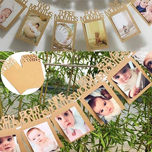 Hbtop 1st Birthday Baby Photo Banner Growth Record 1-12 Month Photo Prop First Birthday Party Bunting Decor