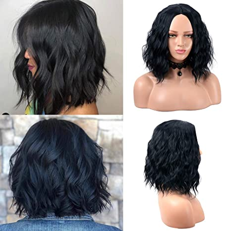 Pelucas cortas negras de Bob para la peluca rizada del partido diario natural sintético del desgaste de las mujeres 14 pulgadas
