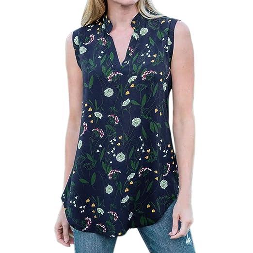 cd6636a3d6 HGWXX7 Women Summer Casual Floral Print Sleeveless Chiffon Vest Blouse Tank  Top (S, Blue