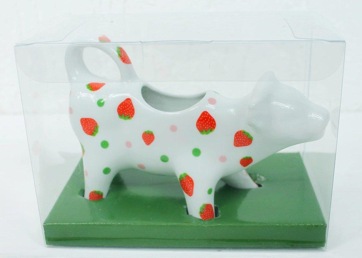 Vaca lechera de porcelana - fresa Strawberrys - jarra para leche jarra de leche - 17 x 12 cm, 0, 15l: Amazon.es: Hogar