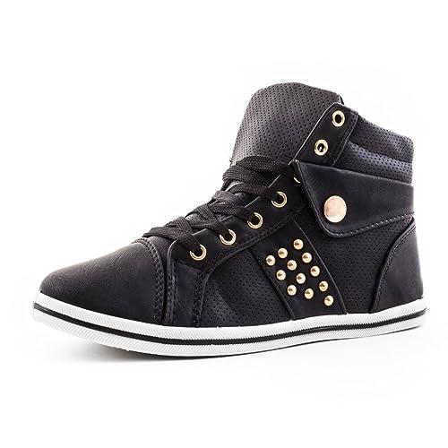 Damen High Top Schnür Sneaker mit Nieten in hochwertiger Lederoptik Schwarz  36  Amazon.de  Schuhe   Handtaschen c3b04a7e30